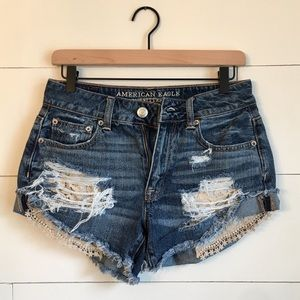 American Eagle High Rise Festival Shorts Lace torn